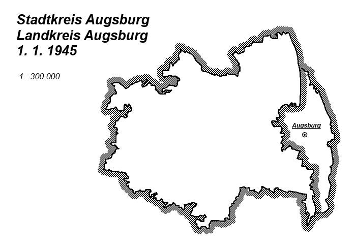 Landkreis Augsburg Karte.Karte Stadtkreis Landkreis Augsburg 1 1 1945