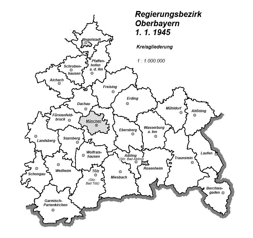 Karte Oberbayern.Karte Regierungsbezirk Oberbayern 1 1 1945 Kreisgliederung