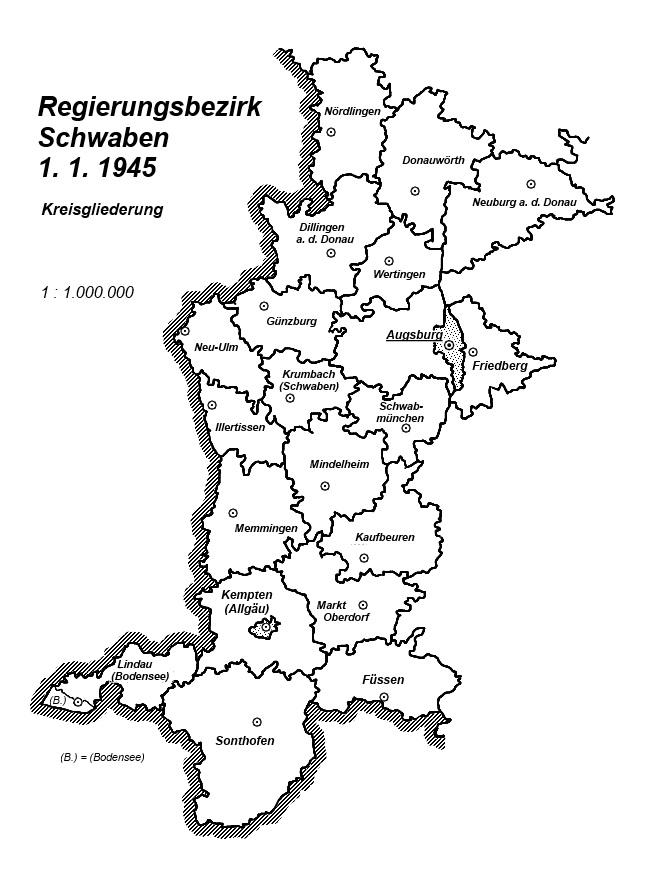 Karte Regierungsbezirk Schwaben 1 1 1945 Kreisgliederung