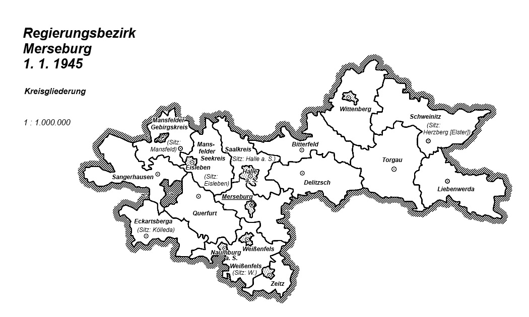 Karte Regierungsbezirk Merseburg 1 1 1945 Kreisgliederung