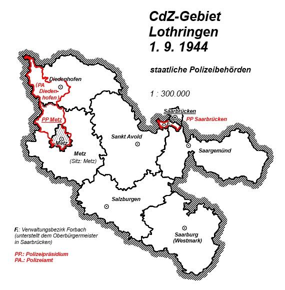 Lothringen Karte.Karte Cdz Gebiet Lothringen 1 9 1944 Staatliche